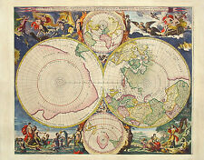 A4 Poster - Vintage Style Map of the World (Nautical Globe Picture Print Art)
