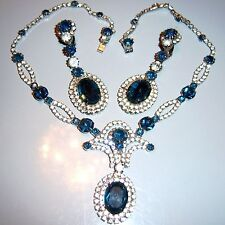 VTG JULIANA SAPPHIRE BLUE CLEAR RHINESTONE NECKLACE EARRING SET DEMI PARURE