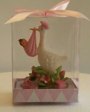 STORK BABY GIRL SHOWER CAKE TOPPER PARTY DECORATION FAVOR FIGURINE