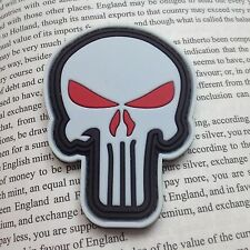 GLOW PUNISHER SKULL ARMY MORALE MILSPEC AIRSOFT TACTICAL 3D PVC PATCH RED
