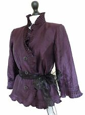 DESIGNER FRILLED PURPLE RIDING JACKET HIGH COLLAR COCKTAIL ROMANTIC GOTH CHIC 12
