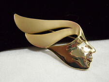 Abstract Modernist Lady Profile Head Pin Brooch Shiny Matte Gold Plate Vintage