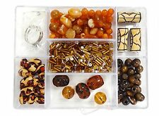 700+ 7 different Variety Beads Brown Animal Print kit bead box New