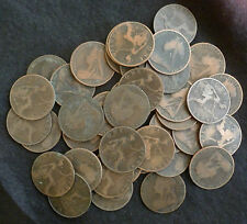Bulk Lot Of 25 Circulated Queen Victoria Old / Veiled Head Pennies 1895-1901