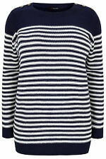 Yoursclothing Plus Size Womens Stripe Knitted Jumper