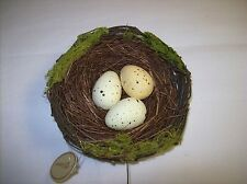 "5"" Decorative Bird Nest with three Yellow Eggs with Brown Speckles"