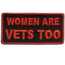 WOMEN ARE VETS TOO VETERAN LADIES MILITARY EMBROIDERED BIKER  PATCH