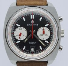 VINTAGE Candino 40mm Steel Chronograph Mens Watch Valjoux 7734 Racing Rev Panda