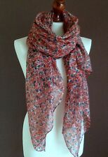 OVERSIZE LADIES SOFT LITTLE ROSES  PRINT FASHION SCARF GREY/RED NEW 100%VISCOSE