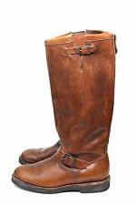"RARE RRL Ralph Lauren 17"" Brown Leather Engineer Motorcycle Boots 8D Murdock USA"