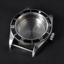 41mm Black Rotatable Bezel Sapphire Glass Watch Case Fit ETA 2824 2836 Movement