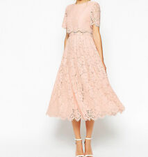 Branded Floral Lace Crop Top Midi Prom Dress in Nude UK 6/EU 34/US 2