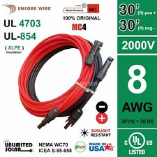 Solar PV Cable Set with 2 x 30FT MC4 Wire Exntensions - 8 AWG -UL 4703 -2000V