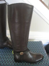 NIB Tory Burch Bristol Brown Coconut Gold Leather Riding Boots Tall Size 10