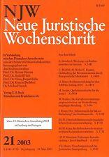 NJW Neue Juristische Wochenschrift 21/2003 +++ wie neu +++