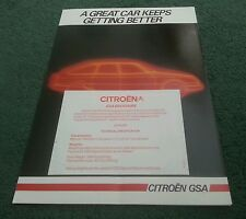 August 1984 / 1985 Model CITROEN GSA SPECIAL SALOON ESTATE UK MARKET BROCHURE
