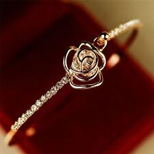 *UK* Elegant ladies Crystal Rose Flower Bangle Cuff Bracelet Jewellery Gold Gift