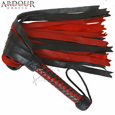 Genuine Real Red & Black Cow Hide Thick Leather Flogger 25 Tails Thick & Heavy
