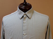 Brioni LS Button Front Shirt French Cuff Grayish size 16 EU 41 made Italy    ZZ