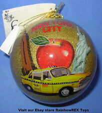 DISNEY PARK EXCLUSIVE Reverse Painted Glass Christmas Ornament New York City