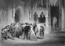 ENGLAND First Reading of Bible - 1860s Engraving Print