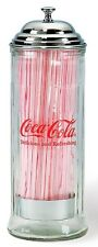 COCA COLA COKE GLASS STRAW DISPENSER CHROME LID  NEW!!