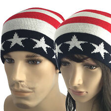 Winter Knit Hat USA American Flag Stars Stripes Beanie Skull Cap Hat UNISEX Ski