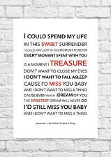 Aerosmith - I Don't Want To Miss A Thing - Song Lyric Art Poster - A4 Size