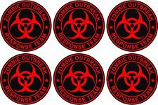 "6 - 2""x2"" Zombie Response Unit Decal Vinyl Wheel Center Cap Sticker Black Red"