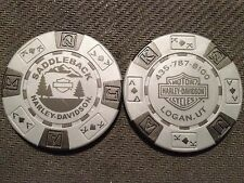 "Harley Davidson Poker Chip (Gray & Black) ""Saddleback"" Logan,Utah"