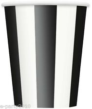 BLACK STRIPES 12oz PAPER CUPS (6) ~ Birthday Party Supplies Beverage Drinking