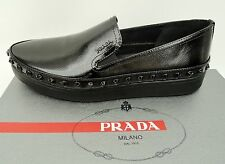 Prada Black Studded Loafers Flats Shoes UK7 EU40