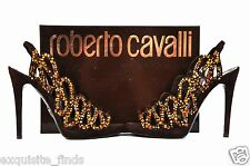 ROBERTO CAVALLI BROWN SUEDE PLATFORM  SHOES  WITH SWAROVSKI CRYSTALS 38-8