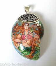 GOLDEN HAIR MERMAID Russian HAND PAINTED MOTHER PEARL 925 SILVER PENDANT