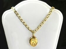 Real 14k gold filled 12x15mm oval locket pendant 18 inch chain necklace