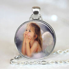 Vintage Angel baby Cabochon Tibetan silver Glass Chain Pendant Necklace @G05