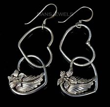 Vintage Old Pawn Navajo HEART & BLOSSOM Sterling Silver Dangle Earrings