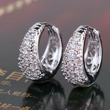 Classic 18K white gold filled Swarovski Crystal wedding hoop earring