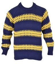 New Burberry Brit Men's $695 Blue Heavy Wool Blend Patch Logo Knit Sweater M