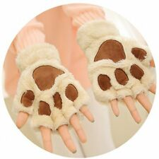 Lovely Women Cat Claw Paw Mitten Plush Glove Costume Gift Winter Half Finger QW