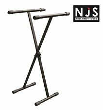 NJS Heavy Duty Folding X Frame Keyboard Stand Locking Mechanism 5 Heights Black