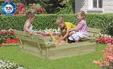 Sandkasten mit Abdeckung und Sitzbänken 120 x 120 x 25 cm Sand  Garten Kinder
