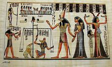 Egyptian Hand-Painted Papyrus Art: Anhai in the Hall of Ma'at Book of the Dead
