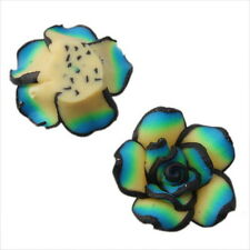 30pcs 110311+ Green Flowers Rose Charms FIMO Polymer Clay Beads 20mm FREE SHIP