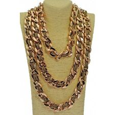 Long Multi Row Weaved Chain & Fabric Statement Necklace - Gold