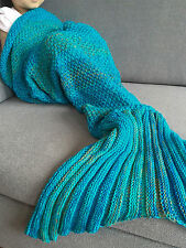 Kids Super Soft Handmade Crocheted Mermaid Tail Blanket Snuggle-in Sleeping Bag