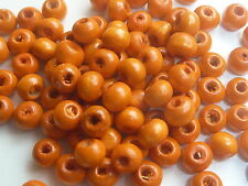 200 4mm DIAMETER ROUND WOODEN ORANGE BEADS - 1MM HOLE