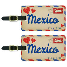 Air Mail Postcard Love for Mexico Luggage Suitcase Carry-On ID Tags Set of 2