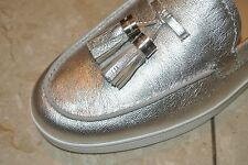 NWT MICHAEL Michael Kors Callahan Moc Metallic Silver Tassel Loafers Size 10