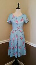 Modcloth Dress XS S Blue Pink Cherry Blossom Floral Knit Fleur Success $69 Retro